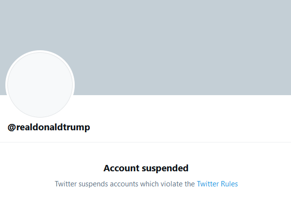 Donald Trump`s suspended twitter account